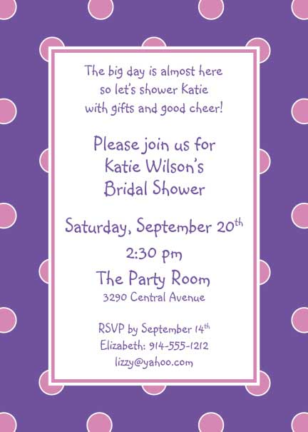 Polka Dot Invitation, Purple and Pink