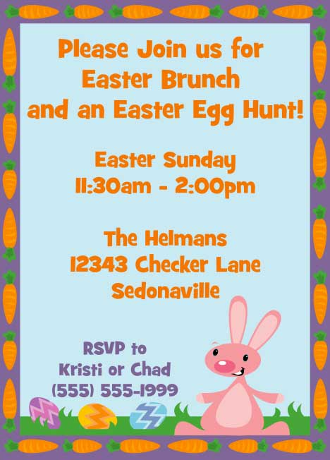 Easter Eggs and Bunny Invitation