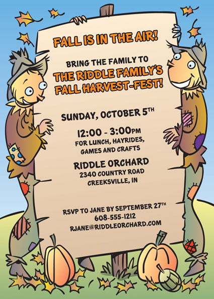 Harvest Party Invitation / Great way to celebrate Fall!