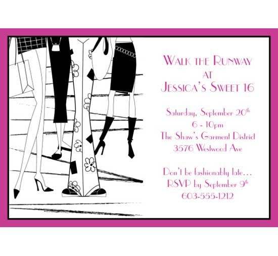 Fashion Party Theme Invitation / For the fashion conscious 16 year old.