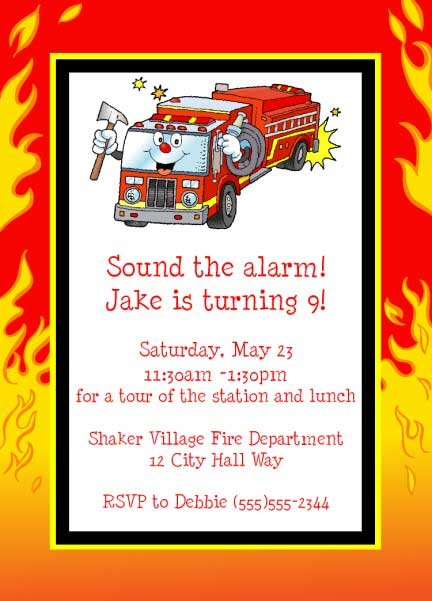 Firefighter Kids Birthday Invitation / Sound the alarm! Hot boy's birthday party invitations for a firefighter theme!