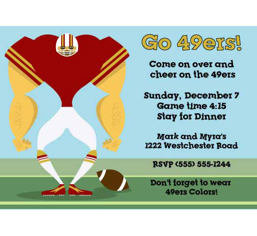 San Francisco 49ers Party Invitation