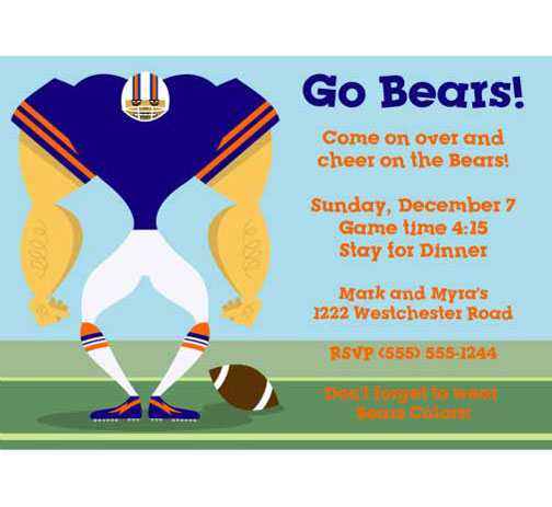 Chicago Bears Party Invitation