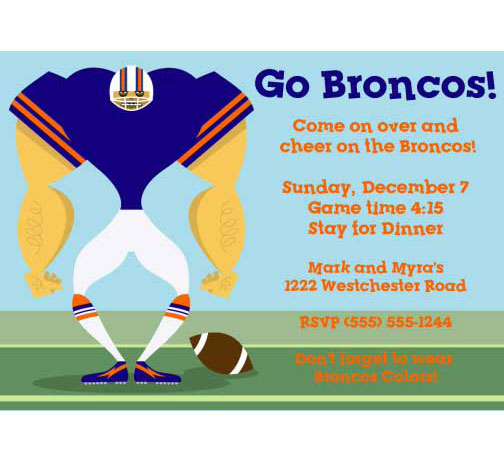 Denver Broncos Party Invitation