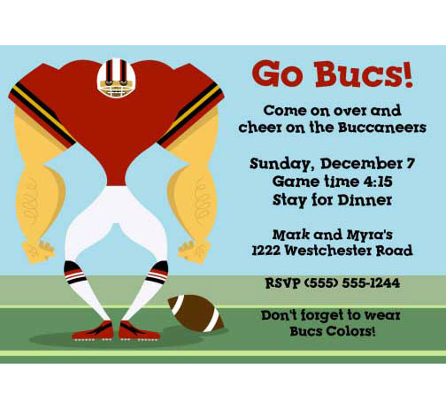 Tampa Bay Buccaneers Party Invitation