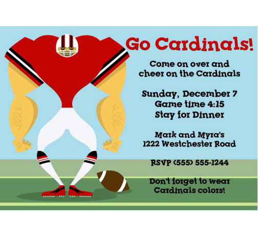 Arizona Cardinals Party Invitation