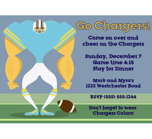 San Diego Chargers Party Invitation