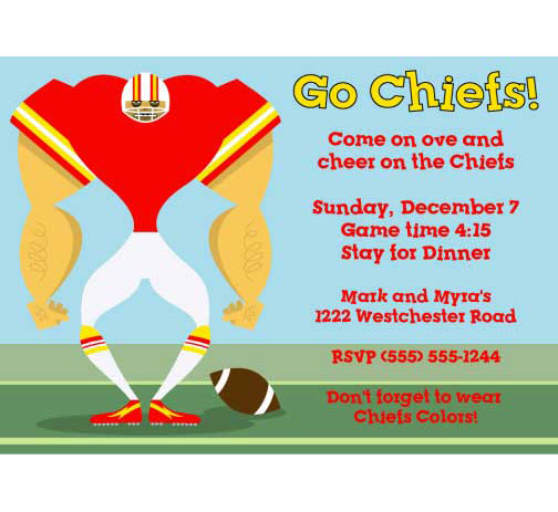 Kansas City Chiefs Party Invitation