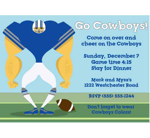 Dallas Cowboys Party Invitation