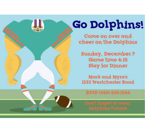 Miami Dolphins Party Invitation
