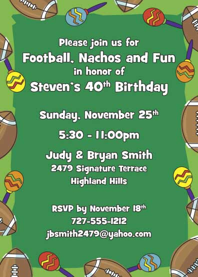 Football Maracas Invitation