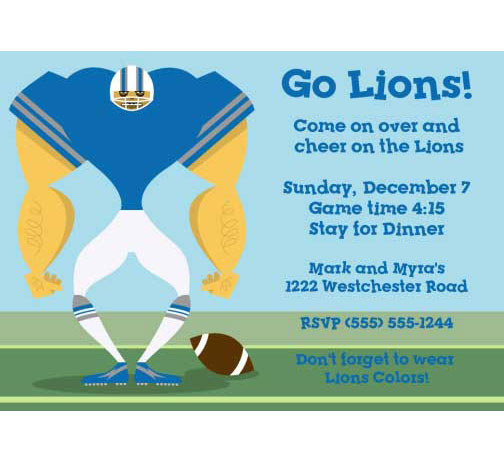 Detroit Lions Party Invitation
