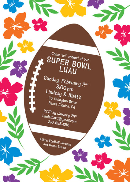 Super Bowl Luau Invitation / Think of warm beaches in February. Nice.