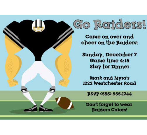 Oakland Raiders Party Invitation