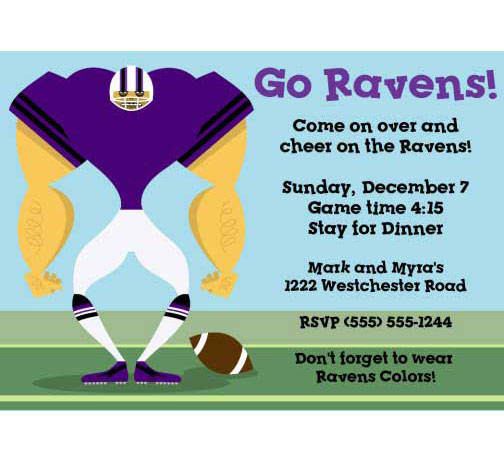 Baltimore Ravens Party Invitation