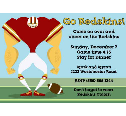 Washington Redskins Party Invitation