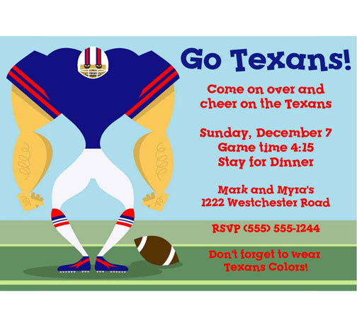 Houston Texans Party Invitation