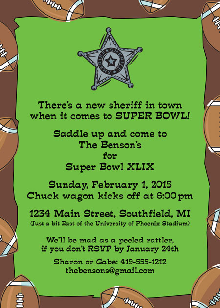 Football Texas Style Invitation / Perfect for Super Size Super Bowl!