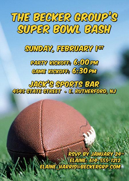 Football Bash Party Invitation