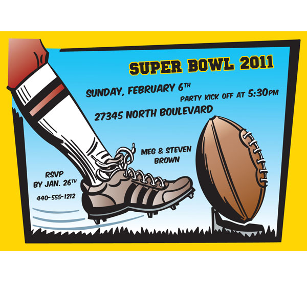 Football Super Bowl Theme Party Invitation