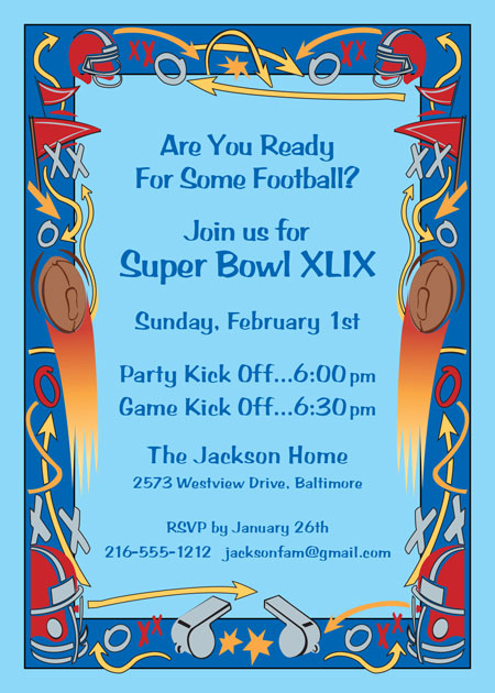 Football Plays Party Invitation