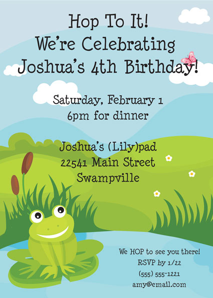 Frog Party Theme Invitation / A great frog theme party invitation