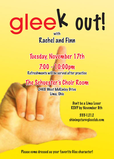 GLEE Party Theme Invitation / Get your GLEEk on!