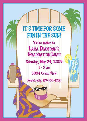 Luau Graduation Invitation / Graduation is here. Time for some fun in the sun!