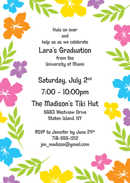 Graduation Luau Hibiscus Invitation