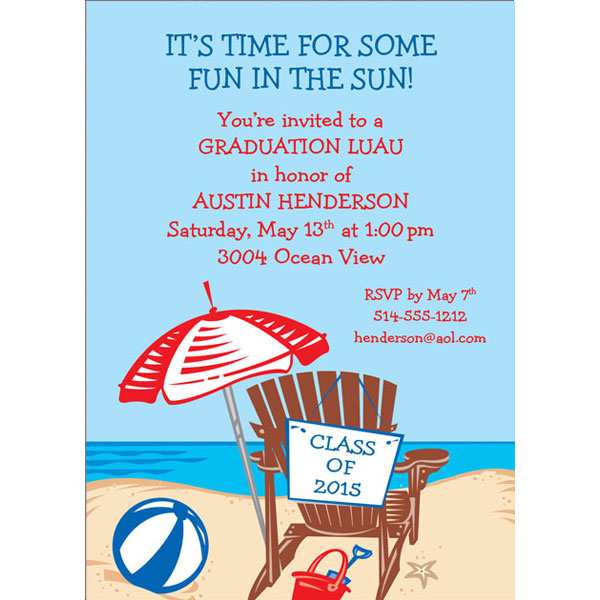 Luau Graduation Beach Invitation