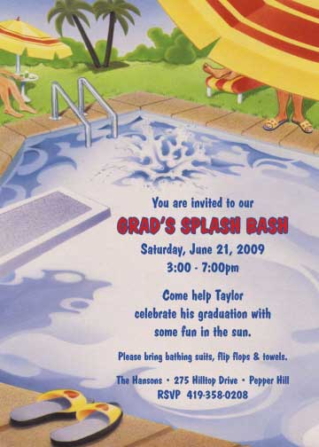 Graduation Pool Invitation / Graduating is hard work. Time to relax poolside.
