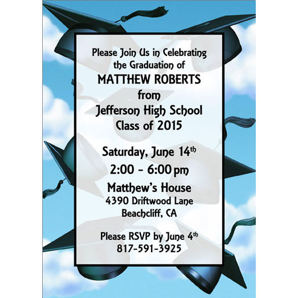 Graduation Caps Invitation