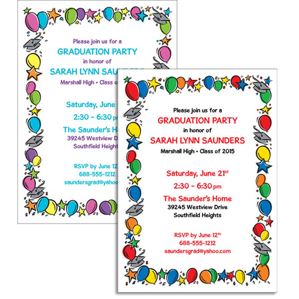 Graduation Balloons Invitation