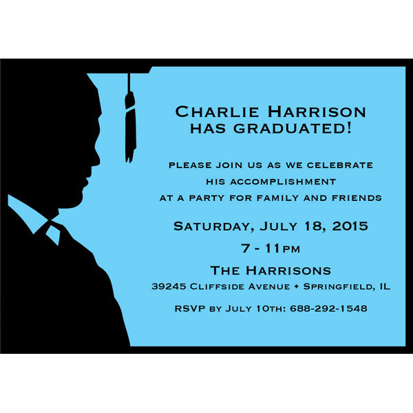 Graduation For Him Silhouette Invitation