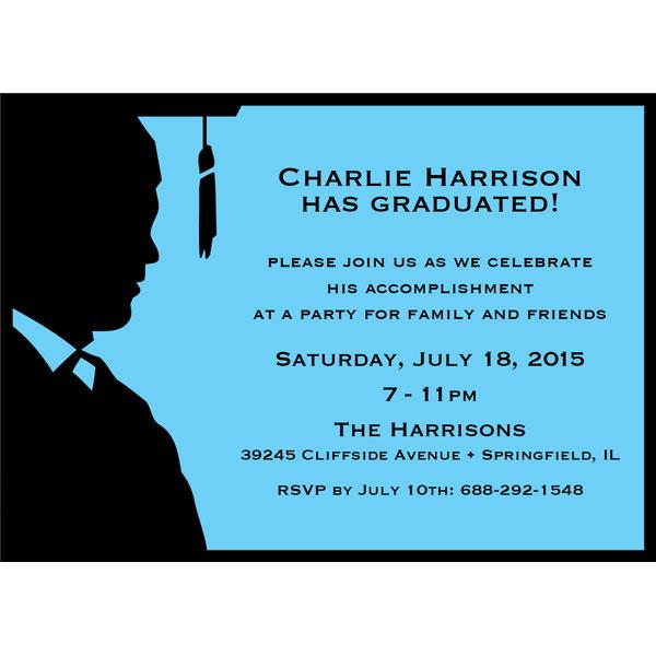Graduation For Him Silhouette Invitation