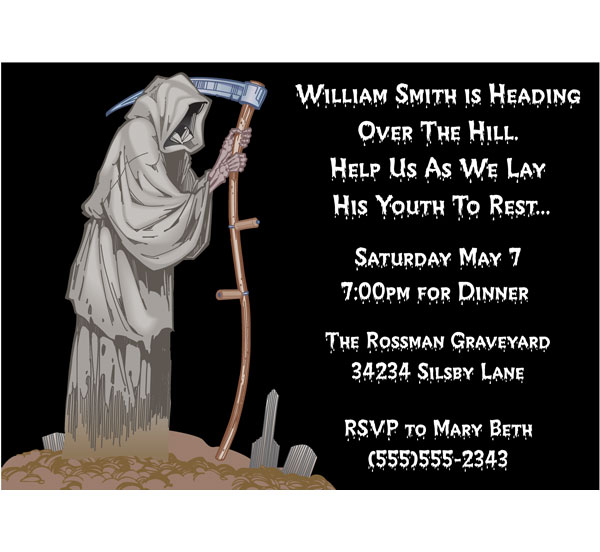 Over The Hill Grim Reaper Invitation / Look who's over the hill!
