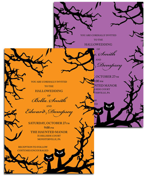 Halloween Wedding Invitation / A purr-fect Halloween wedding invitation in your choice of colors