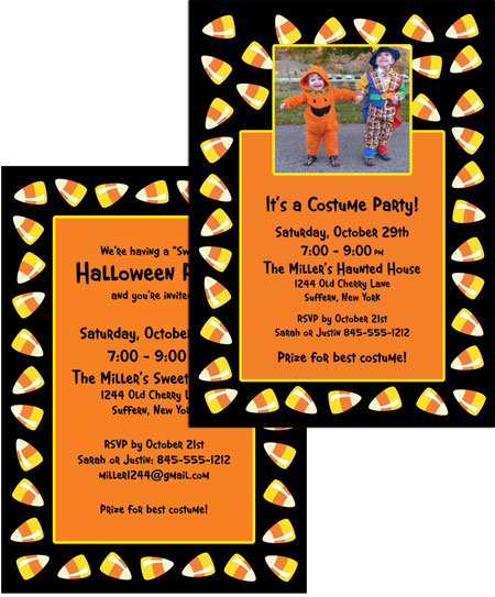 Halloween Sweet Candy Corn Invitation