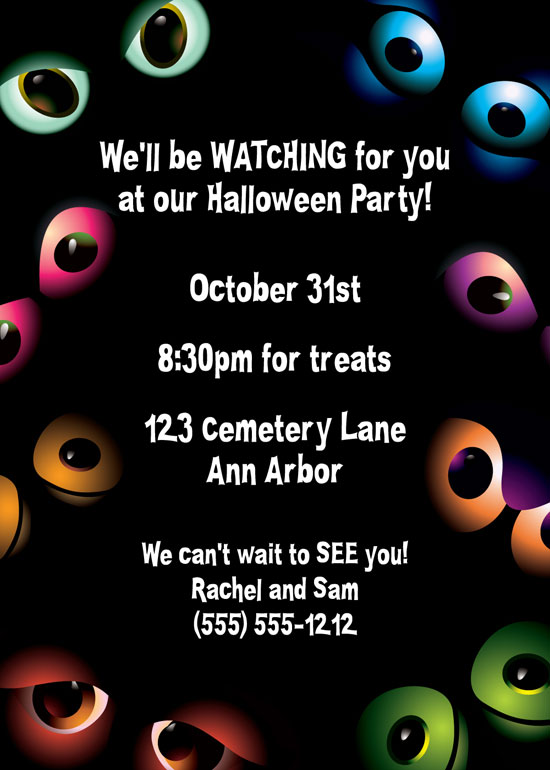 Halloween Eyes Invitation / Spooky eyes! Great Halloween Party Invitation.