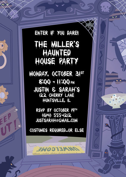 Halloween Haunted House Invitation / Purple is the perfect color for this Halloween Party Invitation.