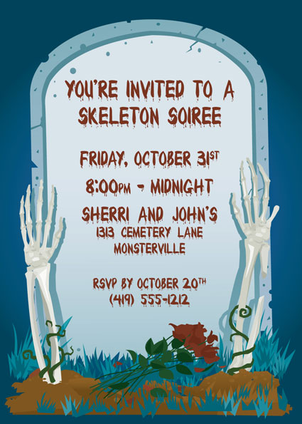 Halloween Grave Invitation