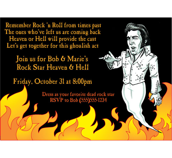 Halloween Rock Star Invitation / Perfect for your Halloween Costume party.