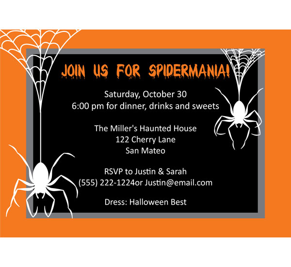 Halloween Spiders Invitation / Creepy Spiders! Halloween Party Invite.