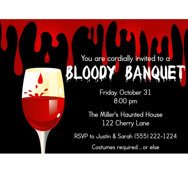 Halloween Bloody Banquet Invitation / Blood lovers unite! Bloody Halloween Party Invitation.