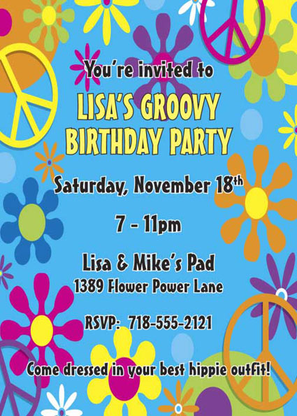 Hippie Retro Invitation / Make party, not war.