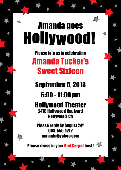 Hollywood Star Party Birthday Invitation