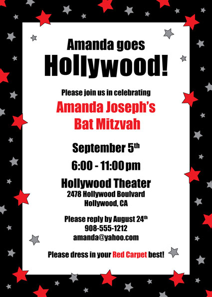 Hollywood Star Party Invitation / Perfect for a Hollywood Party!
