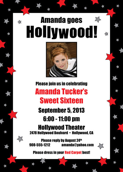 Hollywood Star Birthday Party Photo Invitation / Picture Perfect for a Hollywood birthday party!