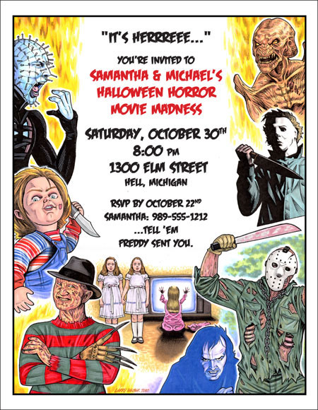 80s Halloween Horror Movie Invitation / This Halloween party invitation will have your guests ready to party