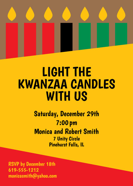 Kwanzaa Kinara Candles Invitation